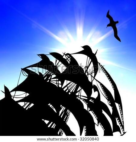 illustration of the sail on background blue sky - stock photo