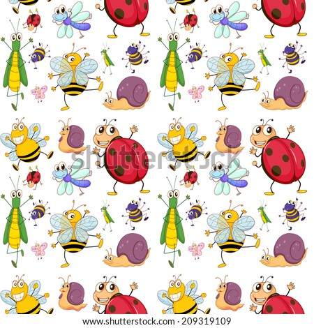 Illustration of the seamless design with insects on a white background - stock photo