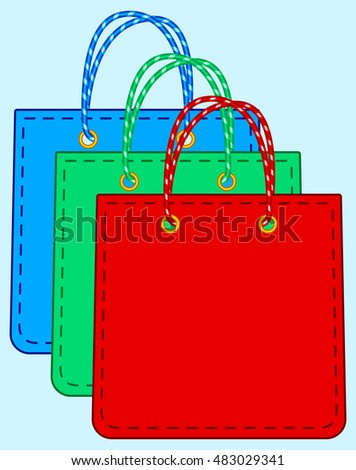 Illustration of the shopping bags set icons