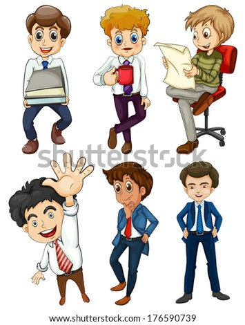 Illustration of the six businessmen on a white background - stock photo