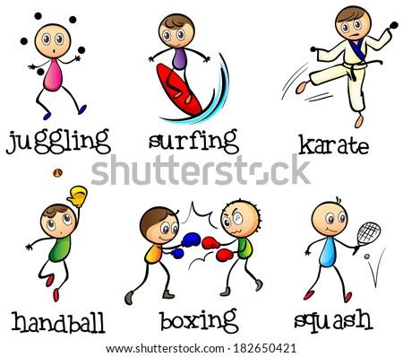 Illustration of the six different sports on a white background - stock photo