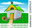 Illustration of the small building in village.Raster version - stock photo