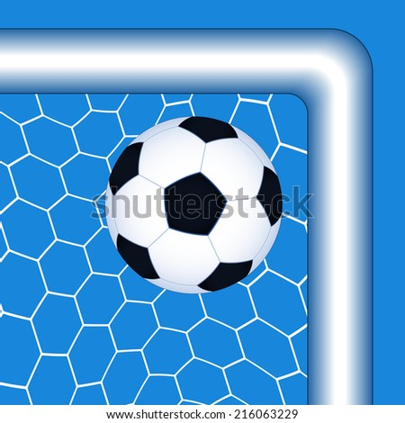 Illustration of the soccer ball in the top corner goal