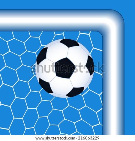 Illustration of the soccer ball in the top corner goal - stock photo