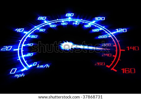 illustration of the speeding car speedometer on the black - stock photo