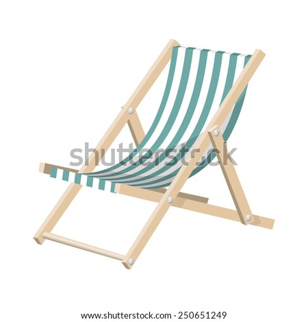 Illustration of the striped sunchair isolated over white background. Raster version