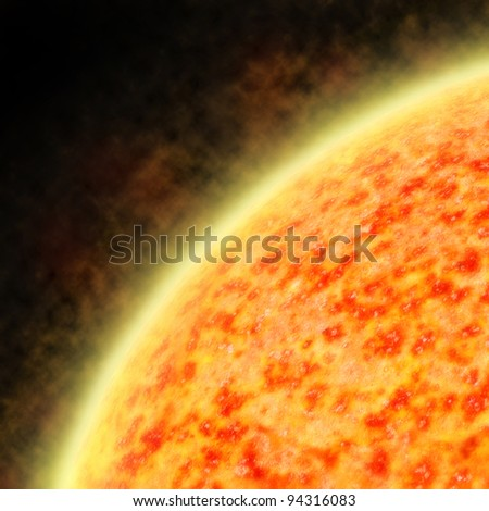 Illustration of the sun radiating a solar wind showing irregular temperature regions - stock photo