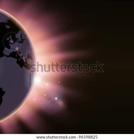 Illustration of the suns rays bursting over the world globe. Europe side visible - stock photo