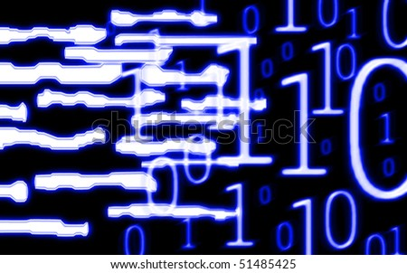 illustration of the techno shapes  and binary code
