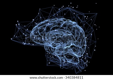Illustration of the thought processes in the brain - stock photo