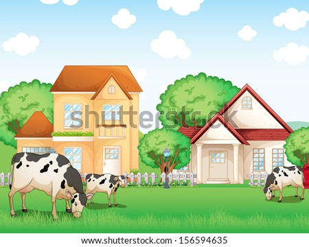 Illustration of the three cows eating in front of the neighborhood
