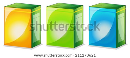 Illustration of the three food packs on a white background - stock photo