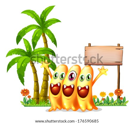 Illustration of the three happy orange monster in front of the empty wooden signage on a white background  - stock photo