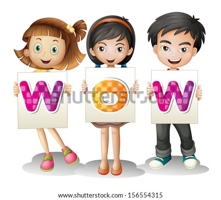 Illustration of the three kids with letters on a white background - stock photo