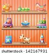 Illustration of the three wooden shelves with toys - stock photo