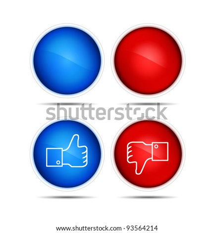 Illustration of the thumb up and thumb down icons with blank. Isolated on white. - stock photo