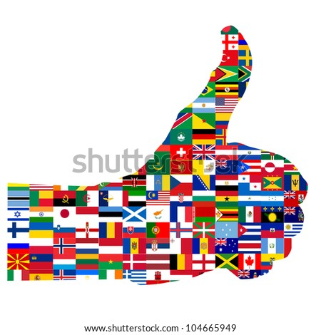 Illustration of the thumbs up symbol, composed of national flags