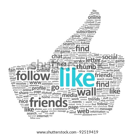 Illustration of the thumbs up symbol, which is composed of text keywords on social media themes. Isolated on white. - stock photo