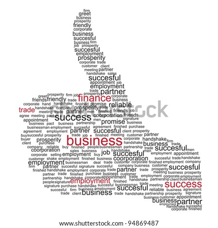 Illustration of the thumbs up symbol, which is composed of words on business themes. Raster version.