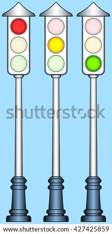 Illustration of the traffic lights set - stock photo