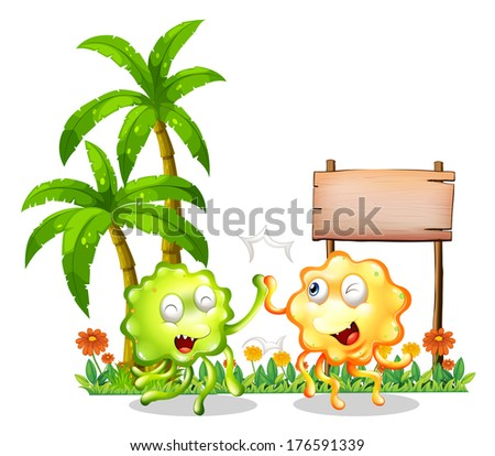 Illustration of the two bestfriends in front of the empty wooden signboard on a white background - stock photo