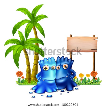 Illustration of the two blue monsters standing in front of the empty board on a white background - stock photo