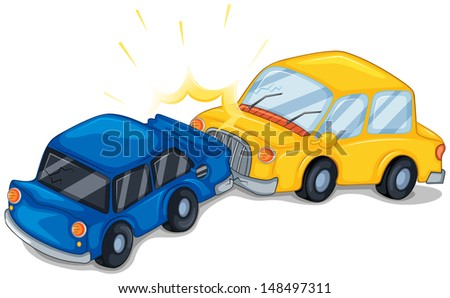 Illustration of the two cars bumping on a white background  - stock photo