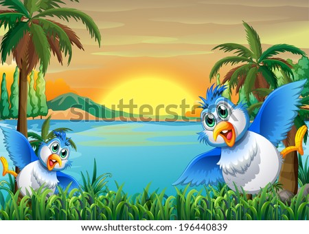 Illustration of the two colorful birds at the riverbank