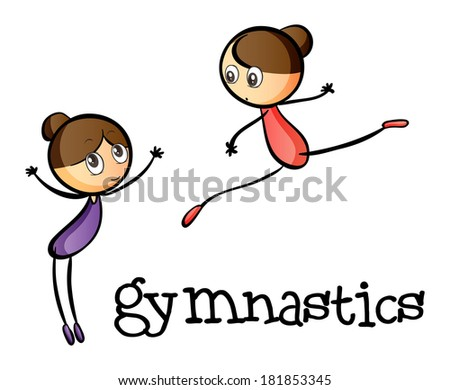 Illustration of the two gymnasts on a white background - stock photo