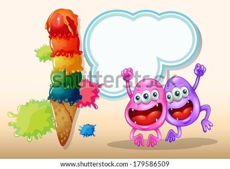 Illustration of the two happy monsters jumping near the giant icecream - stock photo
