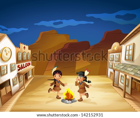 Illustration of the two Indian girls dancing around the fire - stock photo
