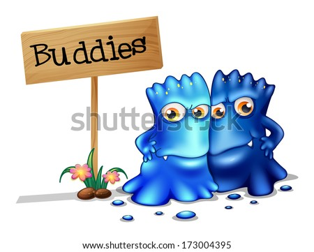 Illustration of the two monster friends near a signboard on a white background - stock photo