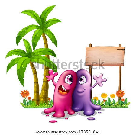Illustration of the two monsters near the palm trees on a white background - stock photo