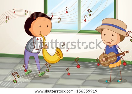 Illustration of the two musicians playing near the window - stock photo