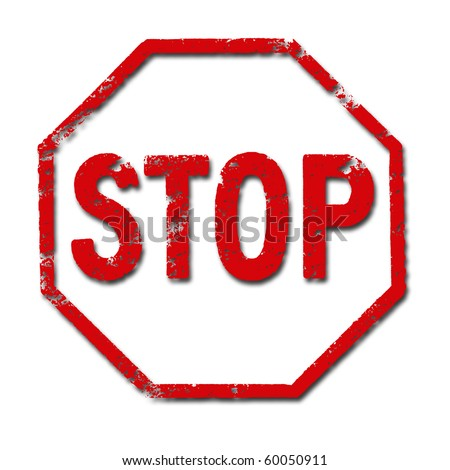 Illustration of the underside of a stamp with the word STOP inside - stock photo
