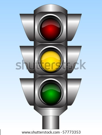 Illustration of the urban traffic light with yellow light - stock photo