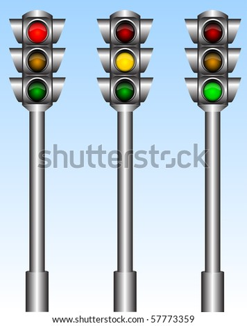 Illustration of the urban traffic lights with different lights - stock photo