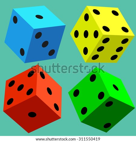 Illustration of the varicoloured dice cubes - stock photo