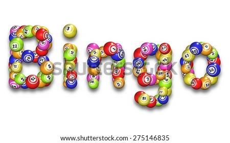 Illustration of the word Bingo made from bingo balls - stock photo