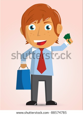 Illustration of the young man with a package and money