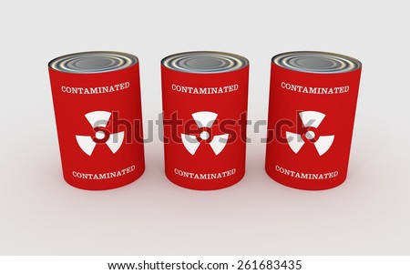 "Illustration of three cans of food with the words ""contaminated"" and toxic symbol - stock photo"