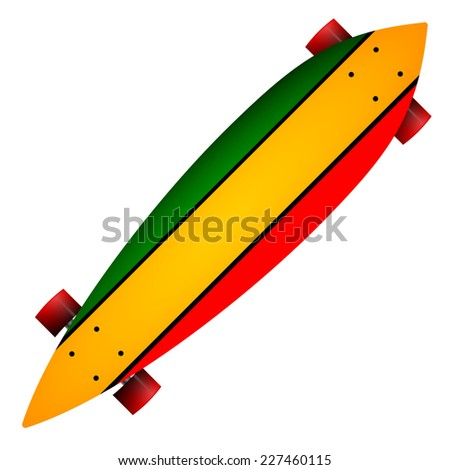 Illustration of three color longboard. Leaf form wooden longboard with red, yellow and green stripes and red wheels. Single isolated illustration on white background. - stock photo