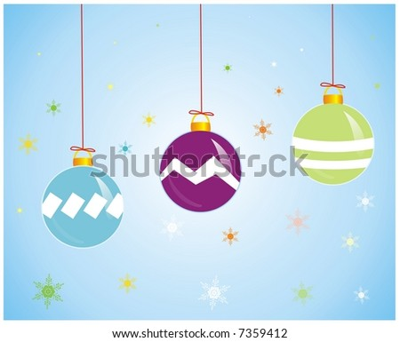 illustration of three colorful design sphere  for xmas