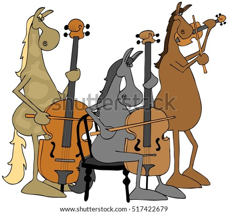 Illustration of three horses playing a violin, cello and a double bass.