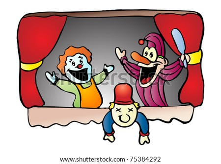 illustration of three little doll playing at puppet show stage - toddler art series