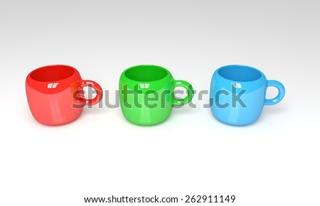 Illustration of three mugs in Red, Green and Blue together displaying the RGB color model - stock photo