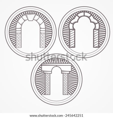 Illustration of three types brick arch icon. Design element with three gray brick arch different shapes. Vintage style round line icon for some architecture business on white background. - stock photo