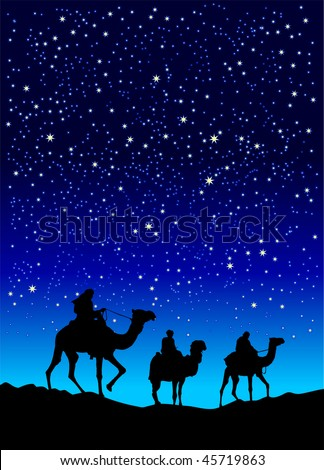 Illustration of three wise men - stock photo