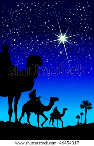 Illustration of three wise men following the star - stock photo