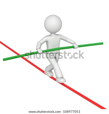 Illustration of tightrope walker performing on a red rope - stock photo